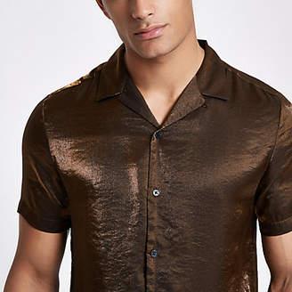 River Island Mens Brown metallic short sleeve revere shirt