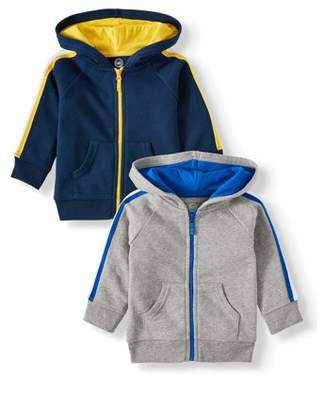 Garanimals Baby Boy Long Sleeve Zip Up Hoodies, 2pc Multipack