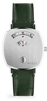 Gucci Grip Stainless Steel & Green Leather Strap Watch