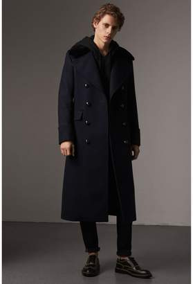 Burberry Detachable Mink Collar Wool Greatcoat