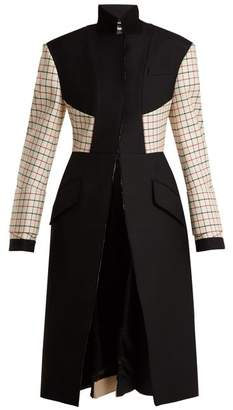 Alexander McQueen Stand Collar Wool Blend Coat - Womens - Black Multi