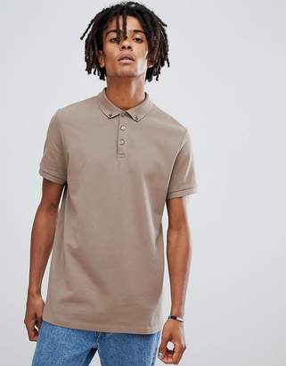 Asos Design DESIGN Polo With Button Down Collar In Pique