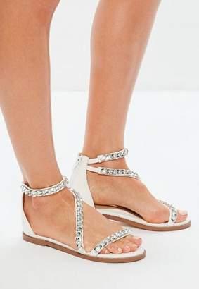 Missguided White Asymmetric Chain T Bar Sandals