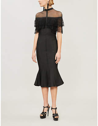 Forever Unique Ruffled lace and stretch-crepe dress