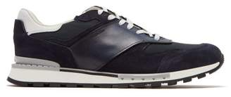 Berluti - Run Track Leather And Suede Trainers - Mens - Navy Multi