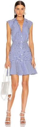 Veronica Beard Bell Bottom Ruched Dress in Blue & White Stripe | FWRD