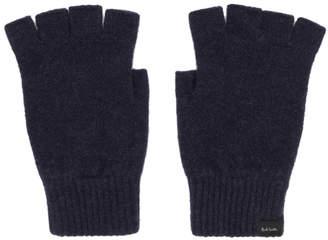 Paul Smith Navy Wool Fingerless Gloves