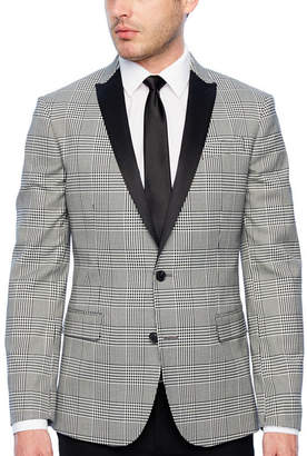 Jf J.Ferrar Tartan Black and White Super Slim Fit Sport Coat