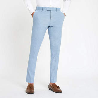 River Island Light blue skinny suit pants with linen