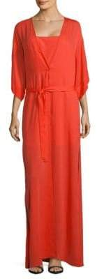 Halston Two-Piece Slip and Wrap Dress Set