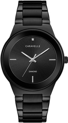 Caravelle Men's Diamond Black Ion-Plated Stainless Steel Watch - 45D108