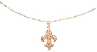 """14K Rose Gold Fleur de Lis Pendant w/18"""" Chain"""