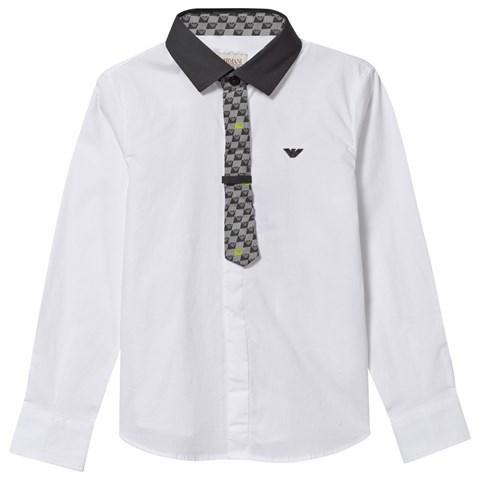 Armani JuniorArmani Junior White Classic Shirt with Grey Collar