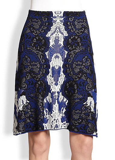 BCBGMAXAZRIA Lace-Print Stretch-Silk Skirt