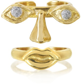 Bernard Delettrez Face 9K Gold Midi Ring Two Pieces w/Eyes/Nose and Mouth