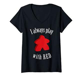 Womens Red Meeple Board Game V-Neck T-Shirt