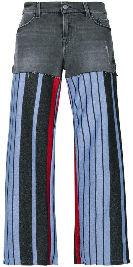 knit-panelled jeans