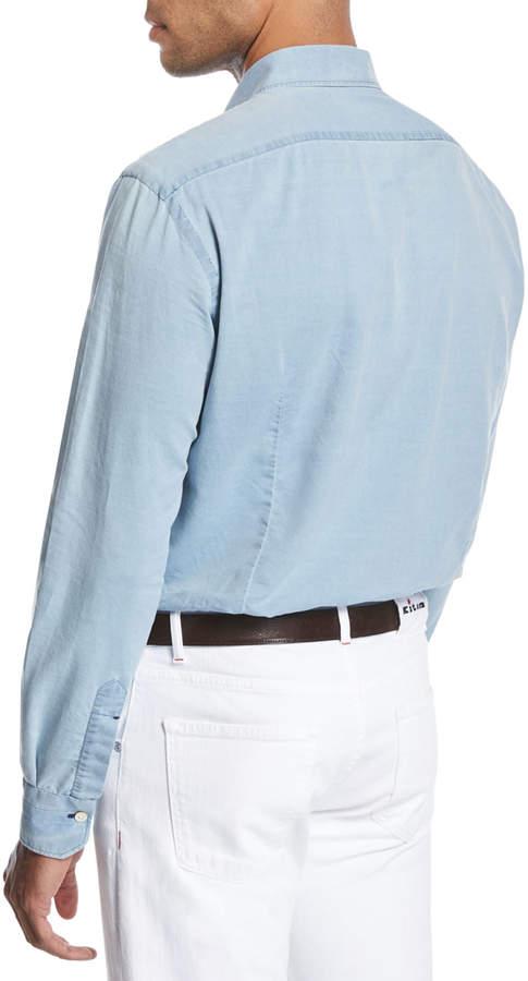Kiton Washed Chambray Shirt, Light Blue