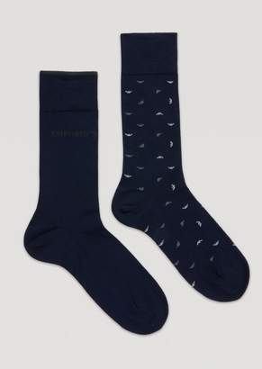 Emporio Armani Set Of 2 Pairs Of Socks With All-Over Eagle