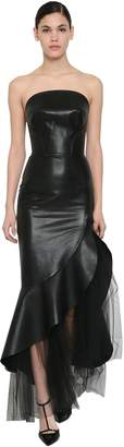 Ermanno Scervino LONG LEATHER DRESS