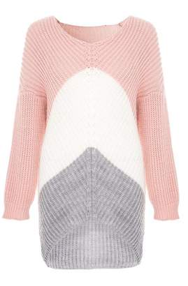 Quiz Pink Cream And Grey Knit Jumper