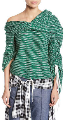 Hellessy Sunshine Off-the-Shoulder Asymmetric Ruched Crochet Jersey Top