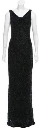 Carmen Marc Valvo Embellished Velvet Devoré Dress