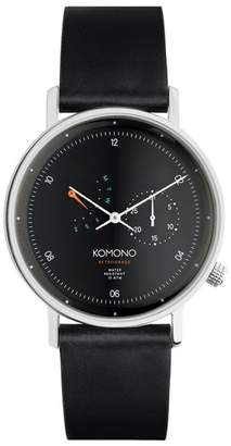 Komono Walther Retrograde Chronograph Leather Strap Watch, 40mm