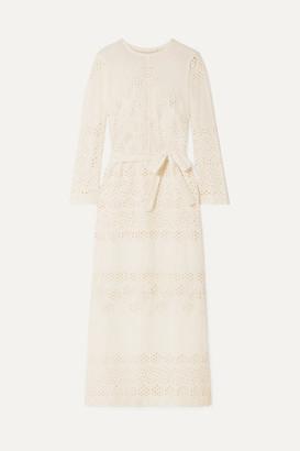 Innika Choo Etta Keet Belted Broderie Anglaise Cotton Dress - Cream