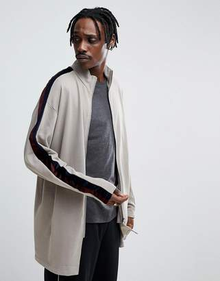 Asos DESIGN Oversized Longline Track Jacket With Velour Stripe