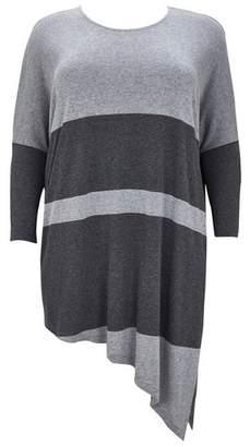 Evans Grey Stripe Colour Block Top