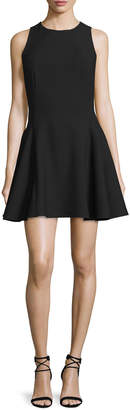 Halston Sleeveless Fit-&-Flare Mini Dress, Black