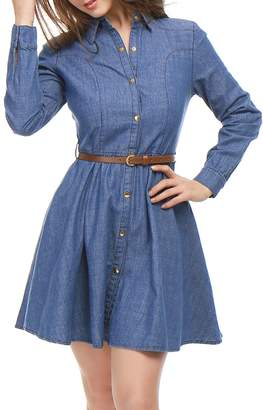 Allegra K Women Long Sleeves Belted Flared Above Knee Denim Shirt Dress M