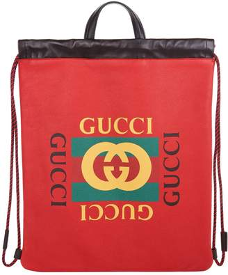 Gucci Leather Zaino Drawstring Backpack