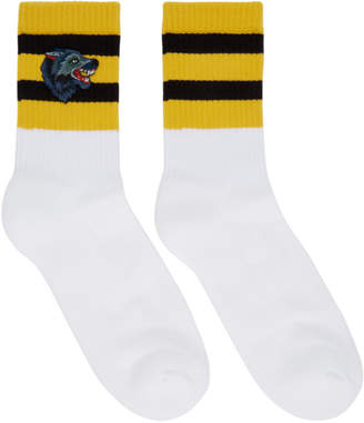 Gucci White Striped Wolf Socks