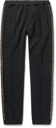 Fendi Slim-Fit Tapered Logo-Trimmed Cotton, Wool, Silk and Cashmere-Blend Track Pants - Men - Black