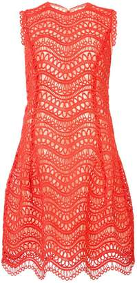 Oscar de la Renta crochet-knit scalloped-hem dress