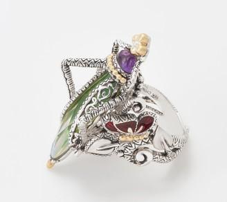 Barbara Bixby Sterling Silver 18K & Gemstone Grasshopper Ring