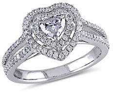 HBC CONCERTO 0.75CT Diamond 14K White Gold Halo Heart Engagement Ring
