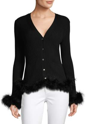Opening Ceremony Faux Fur-Trim Ribbed Top