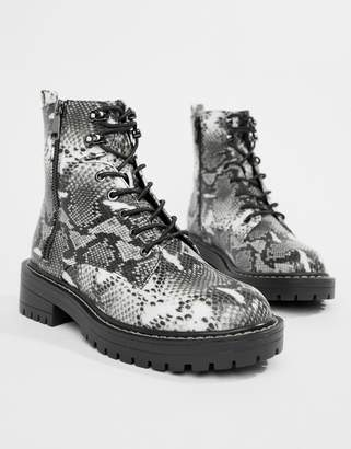New Look lace up flat hiker boots in snake print