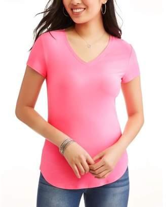 No Boundaries Juniors' Brushed Short Sleeve V-Neck T-Shirt