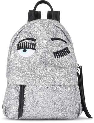 Chiara Ferragni Flirting Small Silver Glitter And Black Faux Leather Backpack