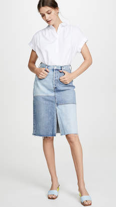 A Gold E AGOLDE Issa High Rise Long Slit Skirt