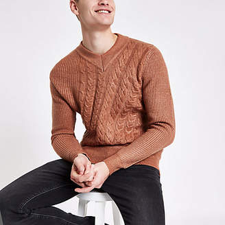 River Island Rust slim fit V neck cable knit sweater