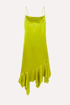 Marques Almeida Marques' Almeida - Asymmetric Silk-satin Midi Dress - Lime green