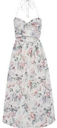 Zimmermann Jasper Cutout Floral-Print Cotton-Voile Halterneck Midi Dress