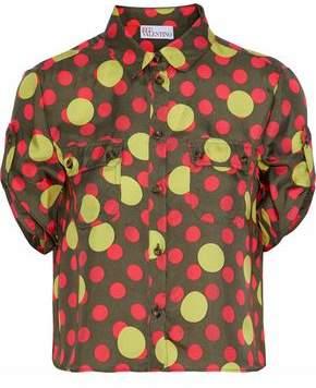RED Valentino Cropped Polka-dot Silk-twill Shirt