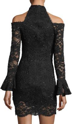Jovani Cold-Shoulder Long-Sleeve Lace Dress