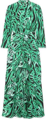 RIXO - Lucy Open-back Ruffled Animal-print Silk Maxi Dress - Green